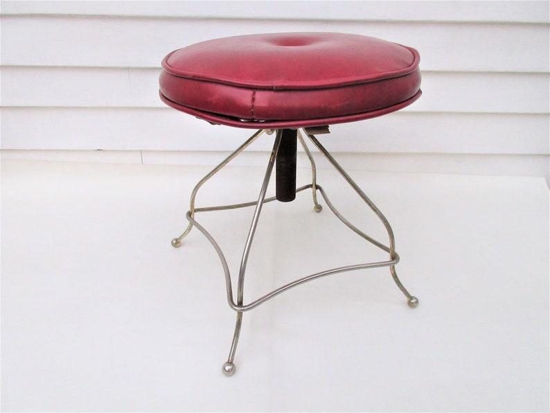Magnificent Vintage Metal Vanity Chair Adjustable Swivel Stool Red Vinyl Seat Brass Stool Uwap Interior Chair Design Uwaporg