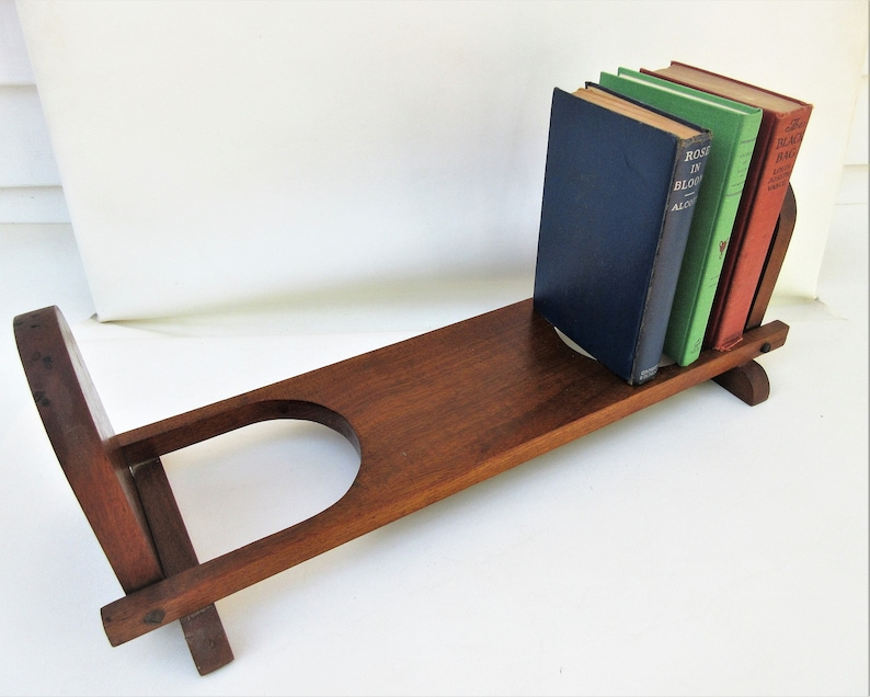 Edwardian (1901-1910) Rare Antique Folding Adjustable Wooden Book Shelf With Carved Floral Decoration Antique Furniture
