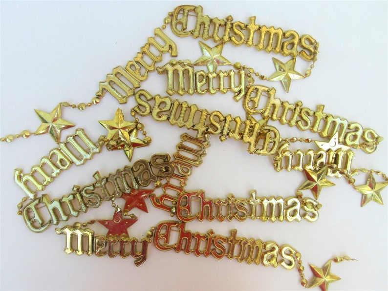 Vintage Christmas Garland  Gold Plastic Chain  Merry image 0