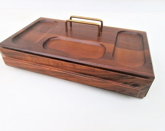 Vintage Mens Valet Box   Wood Box with Drawer   Wood Valet Tray   Mens Jewelry Box   Caddy Organizer