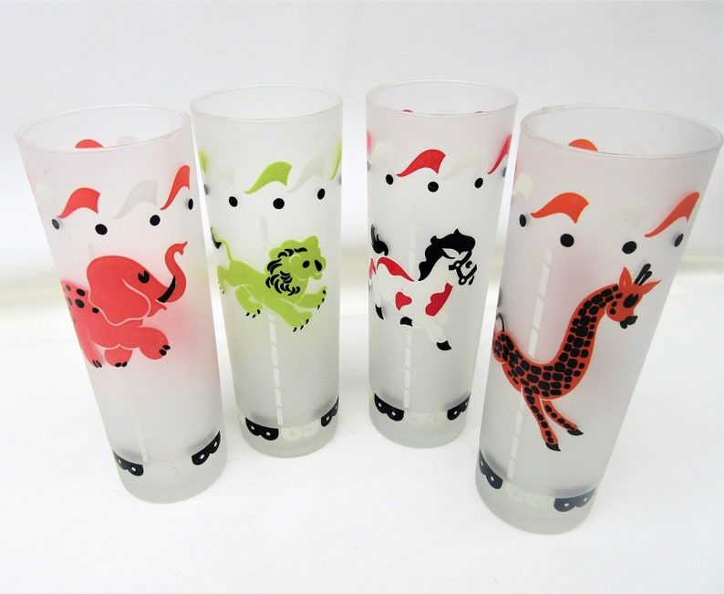 f1394b9737a Vintage Zombie Glasses Frosted Carousel Animal Glasses