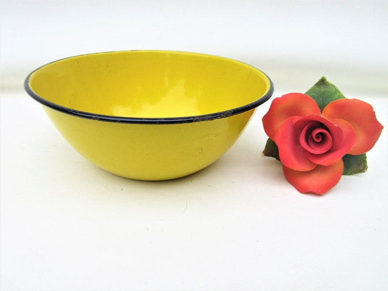 Vintage Yellow Enamel Bowl  Enamelware Serving Bowl  image 0