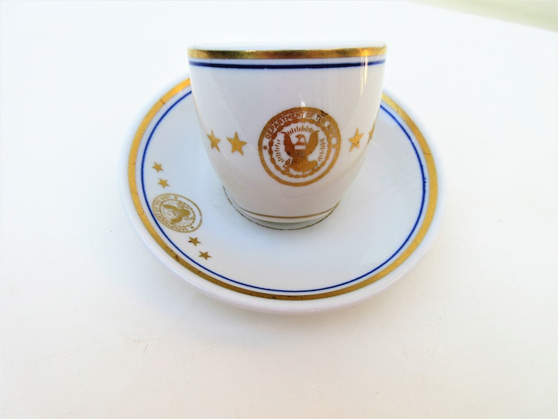Antique Navy Demitasse Cup Saucer  Espresso Coffee Cup  image 0