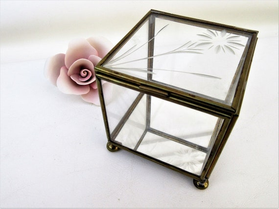 Vintage Etched Glass Box Brass Glass Mirrored Display Case Etsy