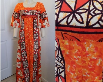 f8d76d33514a Vintage Vibrant Bark Cloth Hawaiian Print Maxi Dress By Ui Maikai