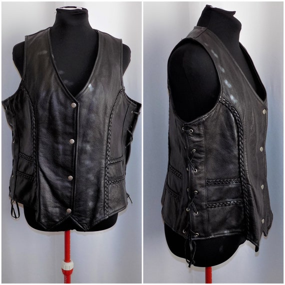 Vintage Black Leather Riding Vest By Excelled Size