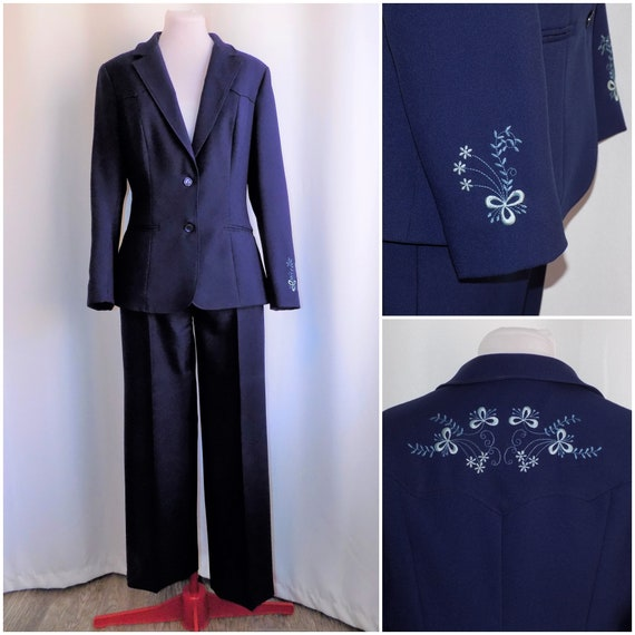 Vintage 70s Women's Blue Western Embroidered Pant