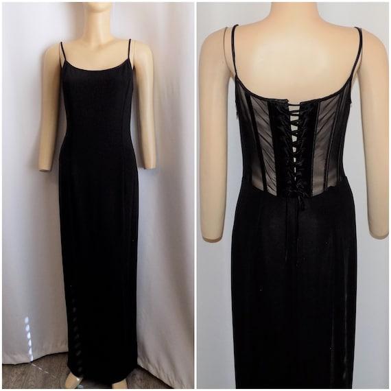 Vintage Black Corset Back Evening Dress by Scott M