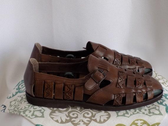 Vintage Men's Brown Leather Huarache Woven Sandals