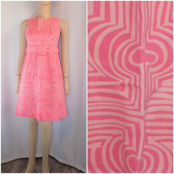 Vintage MOD Pink Psychedelic Sleeveless Dress By L