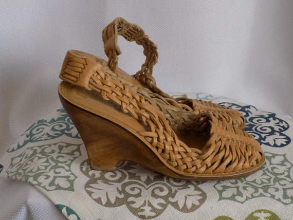 Vintage Tan Leather Huarache Wedge Sandals by Mich