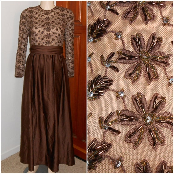 Vintage Formal Brown Beaded Floor Length Dress