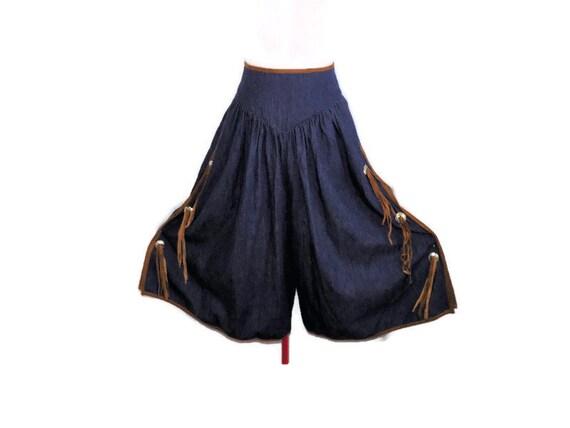 Vintage Blue Denim Western Gauchos by Bis