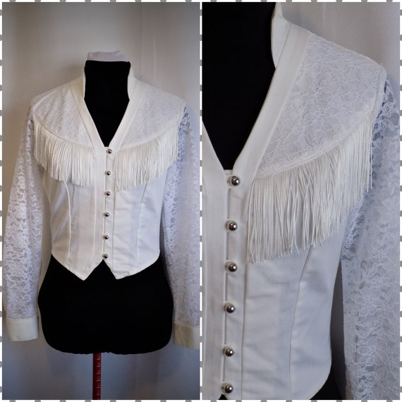 Vintage Western Cowgirl Fringed White Denim and La