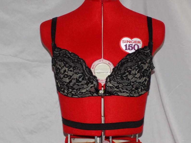 Vintage 60s Black Lace Backless Bra size 34 B By Lady Marlene