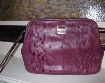 Vintage Susan Gail Purple Snake Skin Clutch