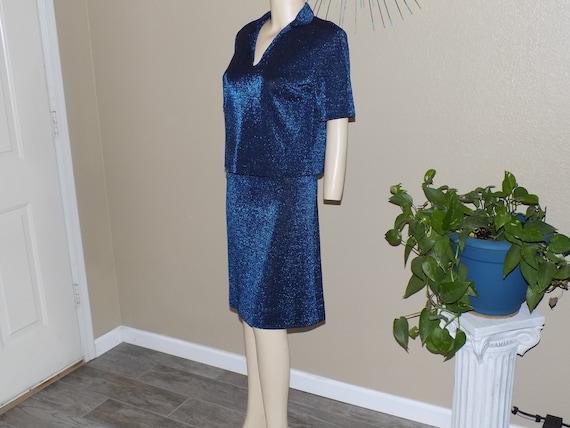 Vintage 50s Blue Black Metallic Mylar Lame Knit Pe