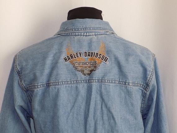 Vintage Blue Denim Harley Davidson Corset Lace Fr… - image 2
