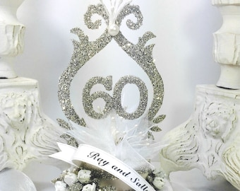 60th Wedding Anniversary Cake Topper Keepsake Box