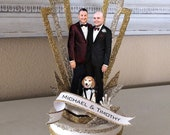 Old Hollywood Glamour, Art Deco, Custom Image, Two Grooms, Wedding Cake Topper, Keepsake Box