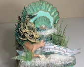 Mermaid Keepsake Box, Gift Box, Cake Topper, Art Piece