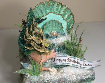 Mermaid Keepsake Box, Gift Box, Cake Topper, Art Piece