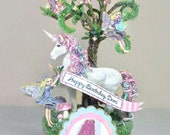 Enchanted Fairy Garden, Unicorn, Birthday Cake Topper, Art Piece