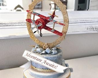 Vintage Airplane Cake Topper, Centerpiece, Keepsake Box, Art Piece