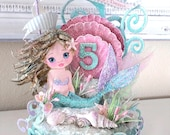 Custom Child Mermaid, Pink Sea Shell, Under the Sea, Birthday Cake Topper, Art Piece