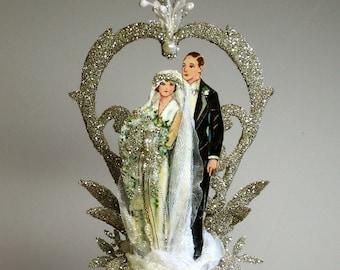 1920s Art Deco, Old Hollywood Glamour, Wedding Cake Topper, Keepsake Box