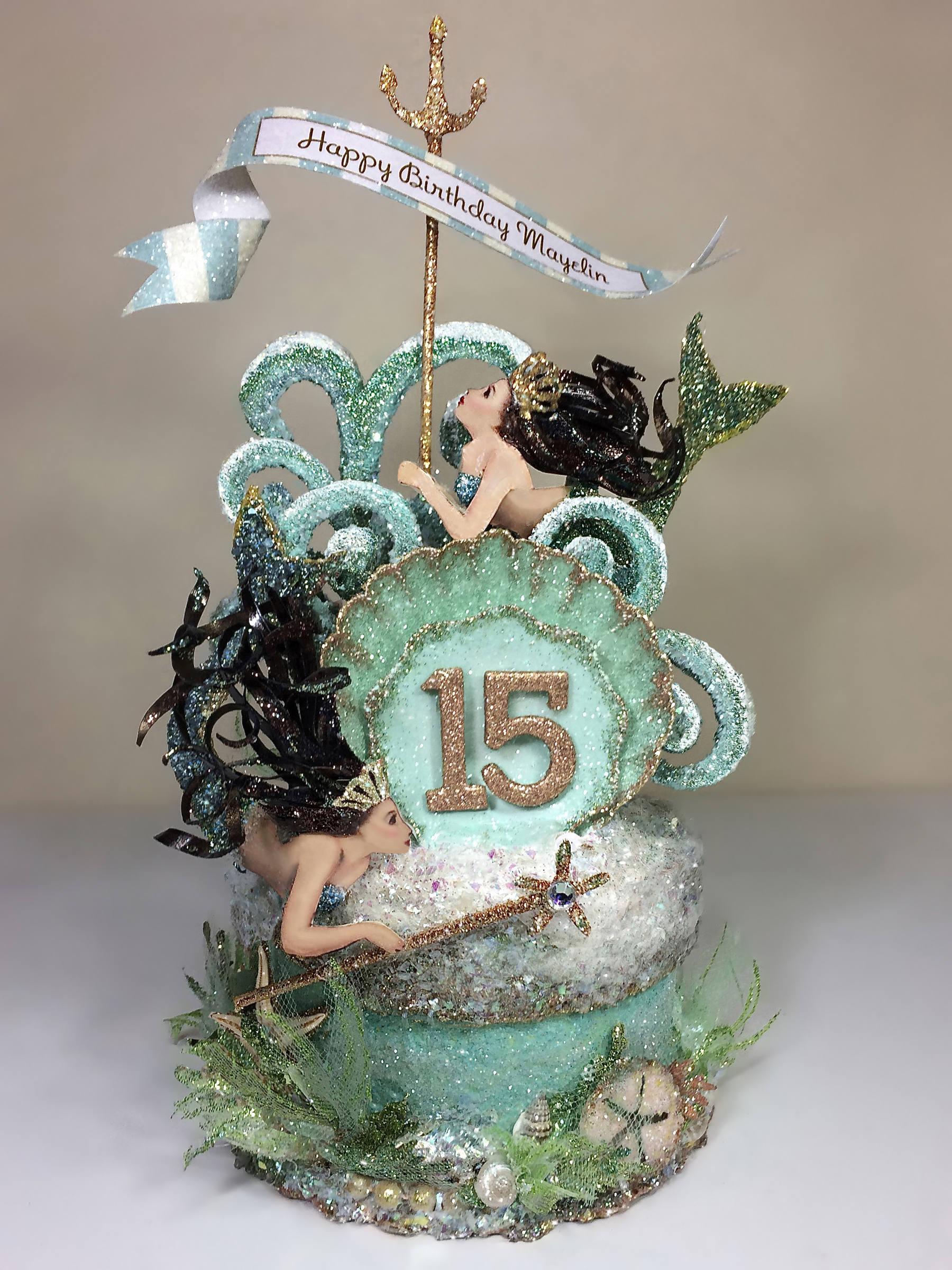 Mermaid Birthday Cake Topper Quinceanera Cake Topper Etsy
