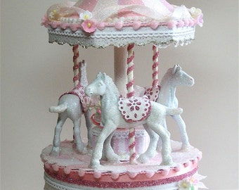 Pretty in Pink Carousel Cake Topper, Keepsake Box