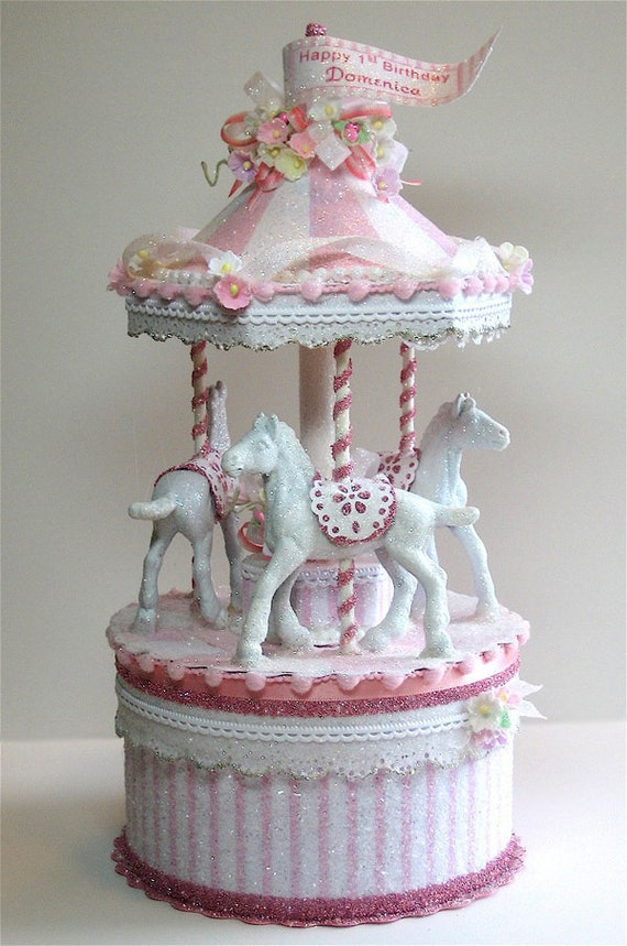 Pretty In Pink Carousel Cake Topper Keepsake Box Etsy