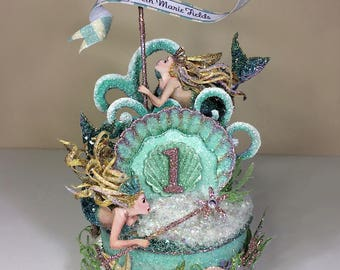Custom Mermaid 1st Birthday Cake Topper, Birthday Topper, Keepsake Box, Art Piece
