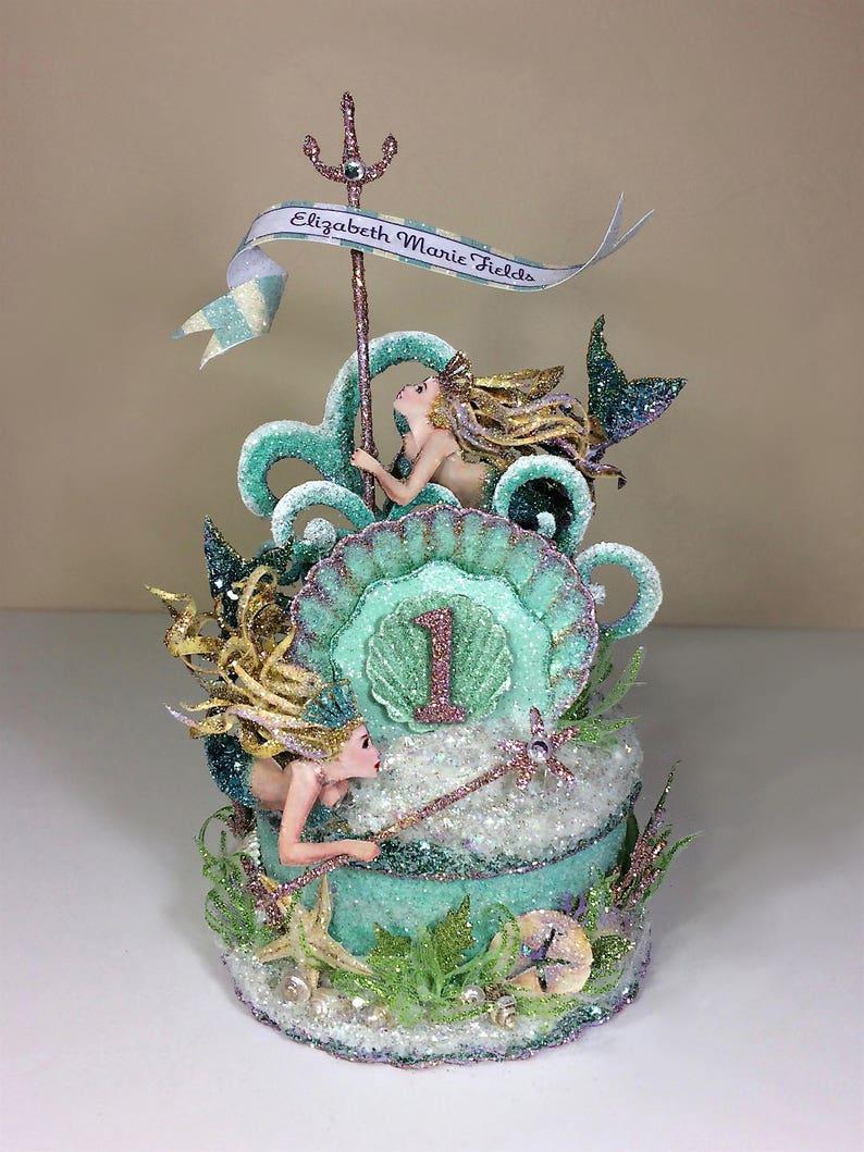 Custom Mermaid 1st Birthday Cake Topper Birthday Topper image 0