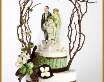 1920s Woodland Glamour Wedding Cake Topper, Keepsake Box, Centerpiece