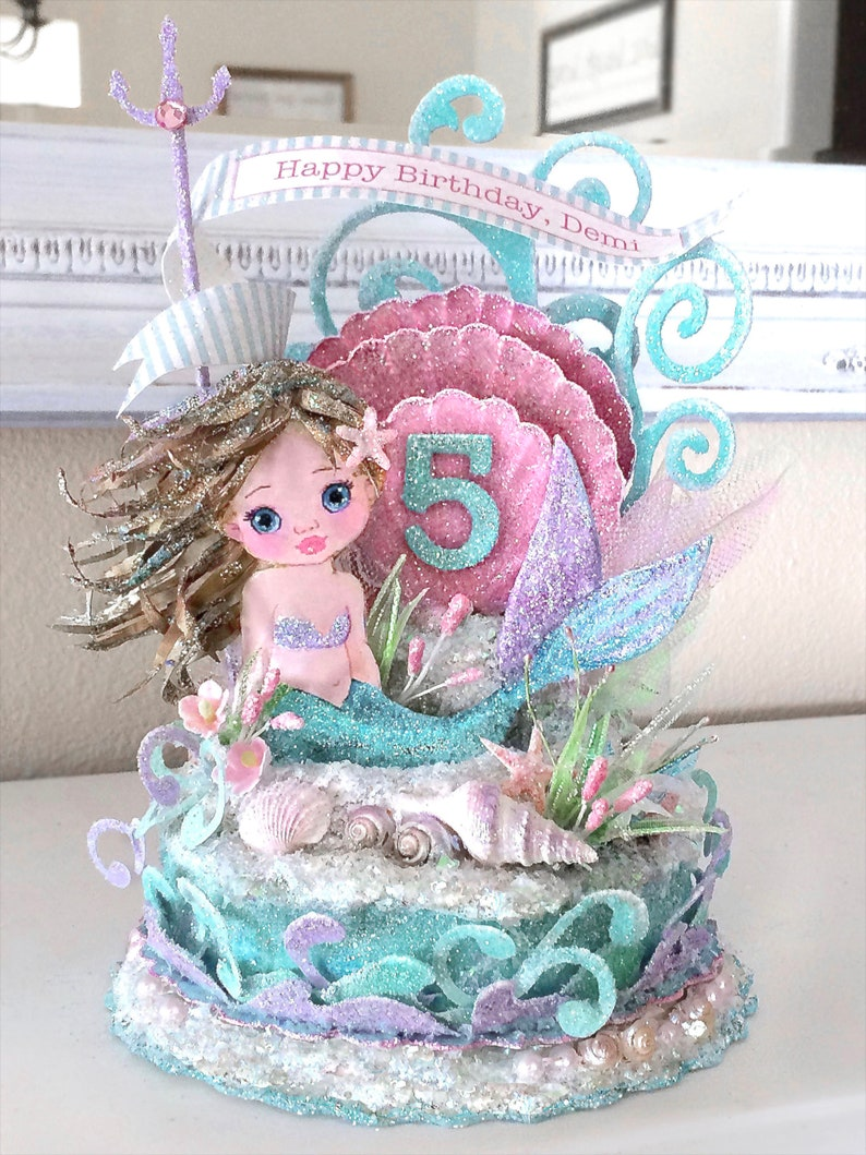 Custom Child Mermaid Pink Sea Shell Under the Sea Birthday image 0