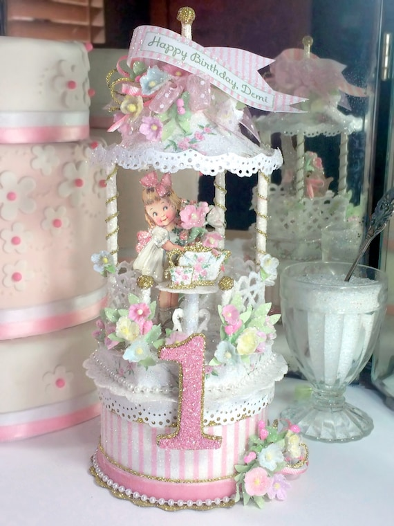 Victorian Tea Party Birthday Cake Topper Keepsake Box First Etsy
