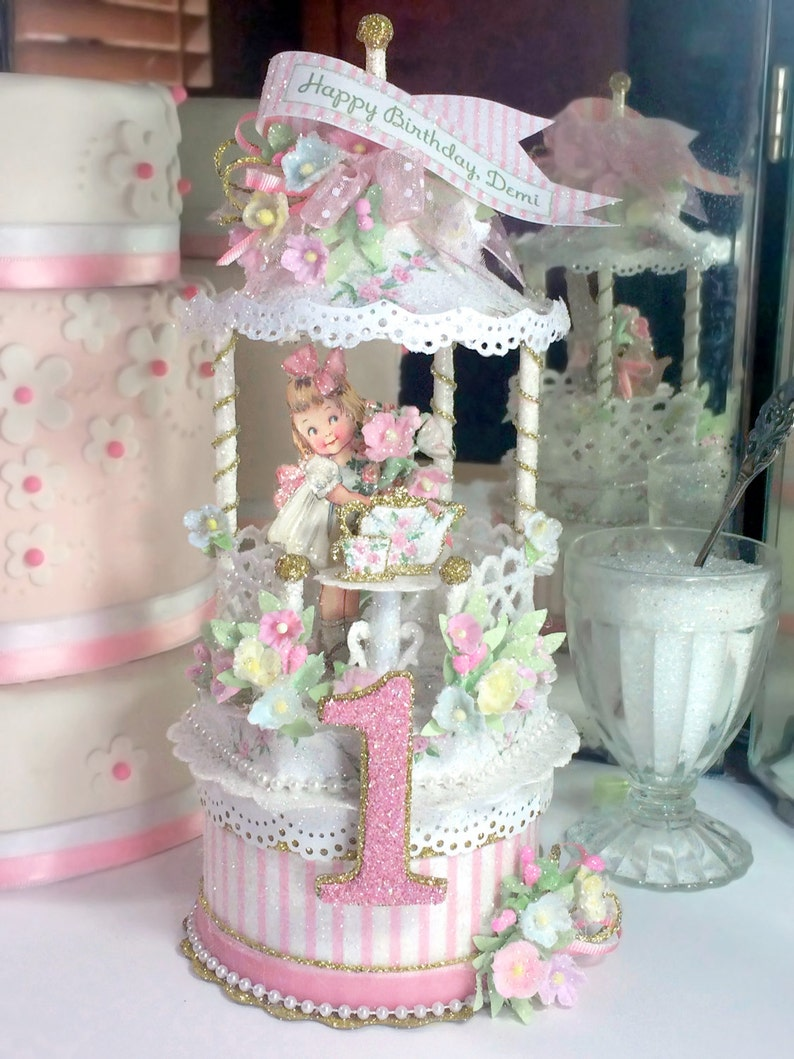 Victorian Tea Party Birthday Cake Topper Keepsake Box First
