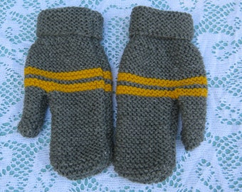 Beautiful Green/Grey and Yellow Mittens for Child Hand Knitted