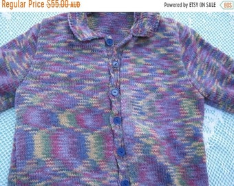 ON SALE Hand Knitted Cardigan - Gorgeous Purple Multicoloured for a Girl aged around 10 years.