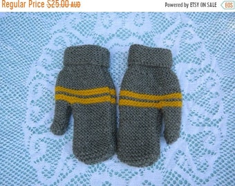 ON SALE Beautiful Green/Grey and Yellow Mittens for Child Hand Knitted