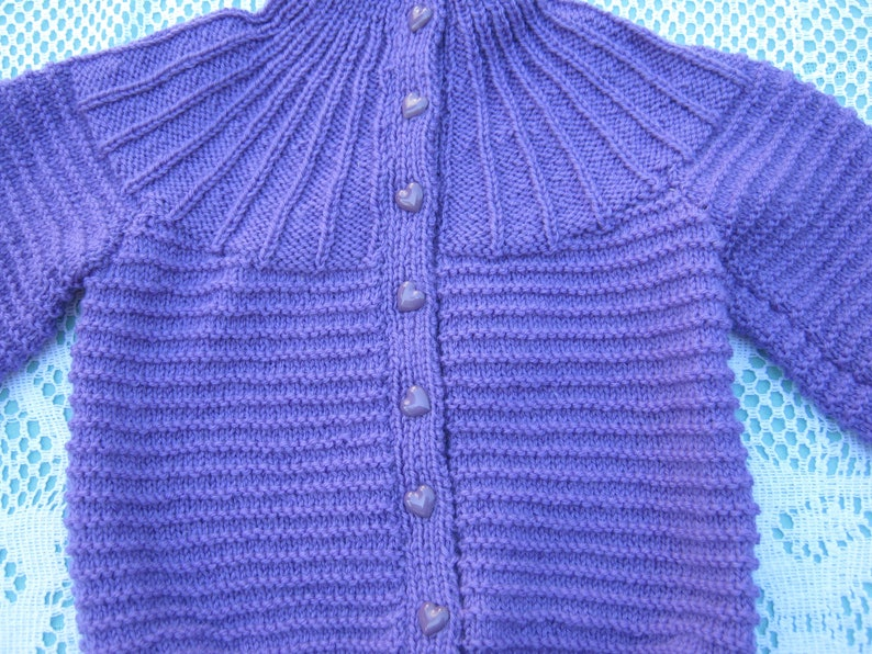 Vintage Gorgeous Purple Cardigan Hand Knitted for a Girl Aged around 1 years.