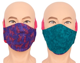 Purple Cat Lover Face Mask - Reversible Face Mask with Adjustable Head Band
