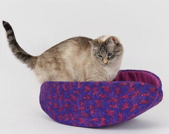 Cat Canoe - Boat Shaped Cat Bed in Purple Pink Cats Fabric