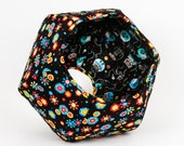 Cat Ball Cave - Floral Pet Bed With Day of the Dead Skeleton Cats Flannel Lining