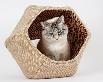 Cat Ball Cave - Cotton Fabric Cat Bed In Tribal Tan Triangles Fabric
