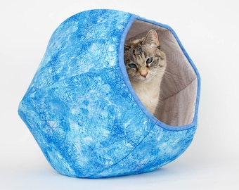 Cat Ball Cat Bed - Ice Blue Covered Cat Cave With Two Openings
