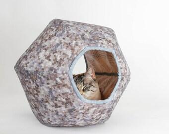 Cat Ball Modern Cat Bed - Grey Blocks