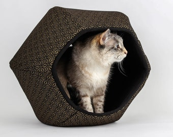 Cat Ball Modern Cat Bed - Antique Gold Flowers on Black